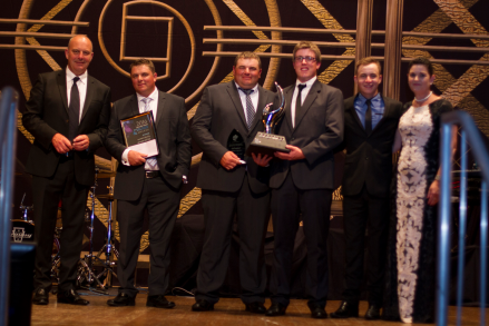 Accepting the Award for 2016 Business of the Year from left to right: event MC Andrew Daddo, Qualipac's Troy Qualischefski, Brad Qualischefski, Sam Adams, Mitch Brimblecombe and Lockyer Valley Mayor Cr Tanya Milligan